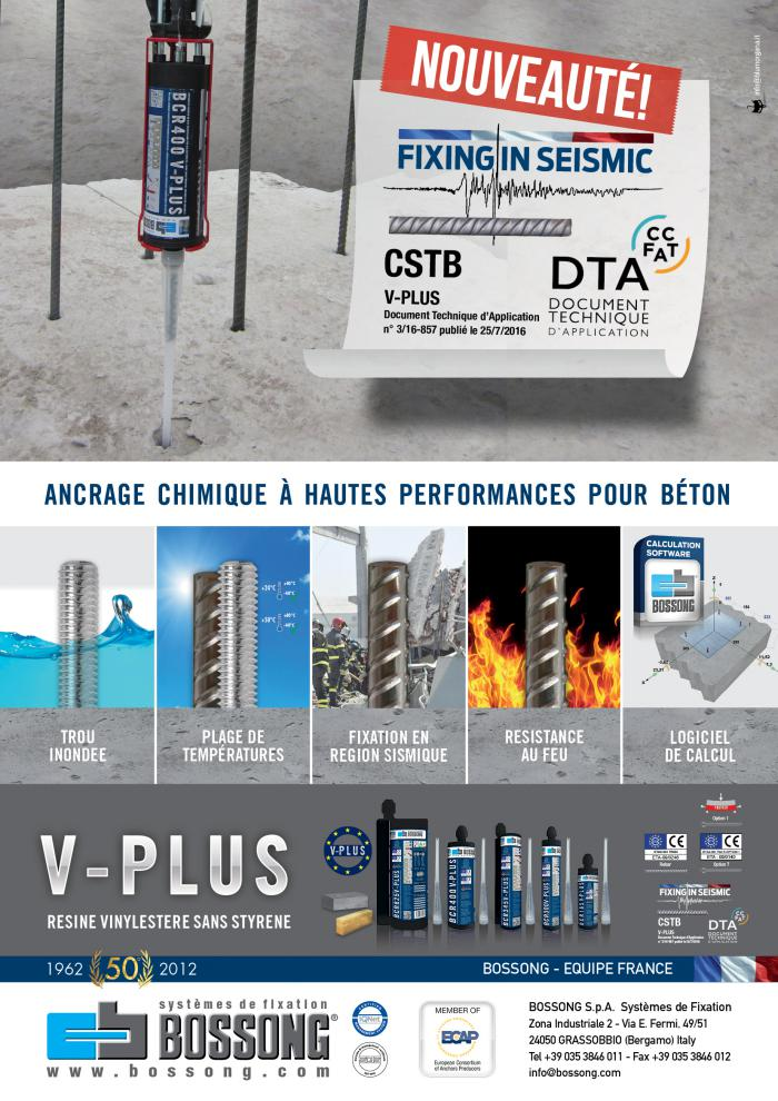 Nouveau DTA armatures en sismique pour resine V-Plus Bossong