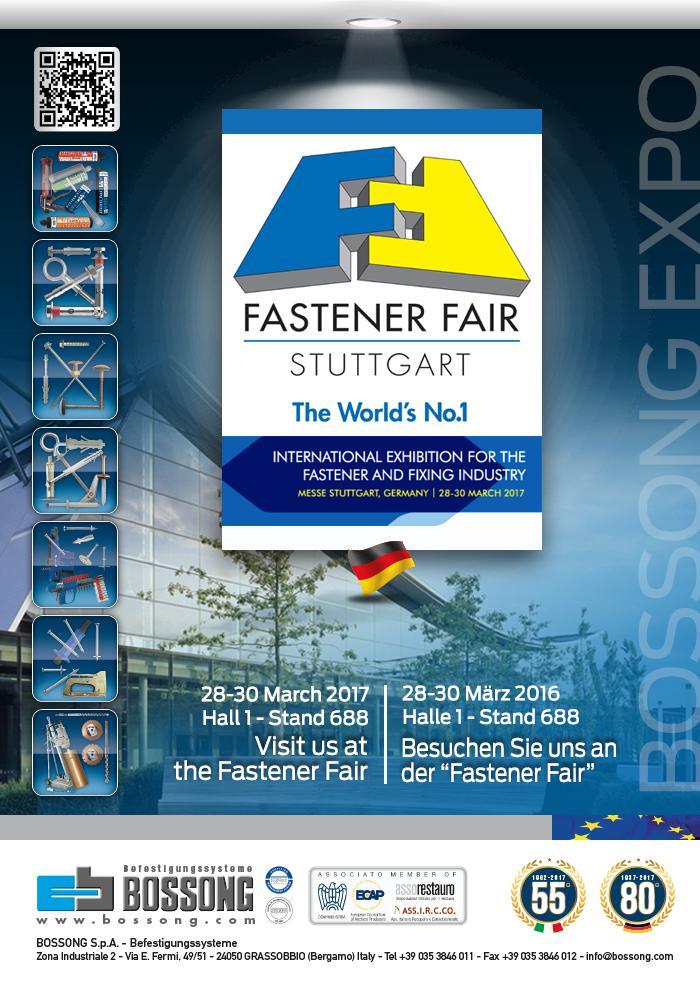 Visitez nous @ Fastener Fair Stuttgart 2017 Bossong